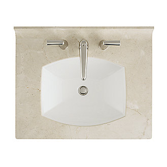 Shown is the Barbara Barry Counterpoint Marble Vanity Top in Statuary White, with Counterpoint Basin Set with Stone Lever Handles, and Original Undermount Basin Set in Stucco White.