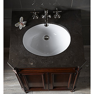 Shown is the Bellis Pre-cut Marble Vanity Top in Bleu De Chine, with Citizen Small Undercounter Basin and Bellis Noble Basin Set with Cross Handles