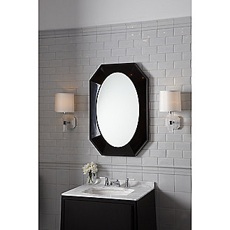 Shown is the Barbara Barry Counterpoint Vanity in Ebonized Mahogany, with Statuary White Marble Vanity Top, Counterpoint Basin Set with Stone Lever Handles, and Original Undermount Basin in Stucco White.