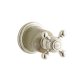 Shown is the Amédée Wall Bath Valve Trim, Hot, featuring a White Onyx insert