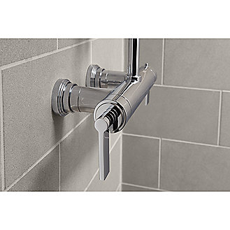 Shown is the One Exposed Thermostatic Shower Set in Chrome with the Kallista Small Contemporary Raindome and the One Dual-Function Handshower