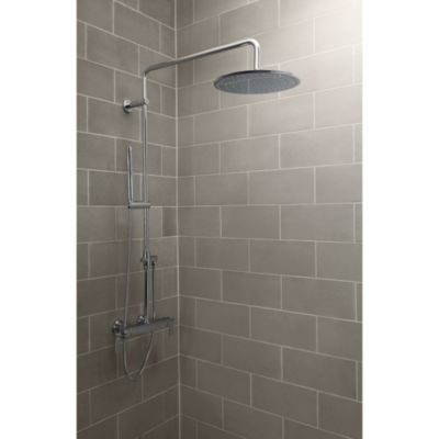 Shown Is The One Exposed Thermostatic Shower Set In Chrome With The  Kallista Small Contemporary Raindome
