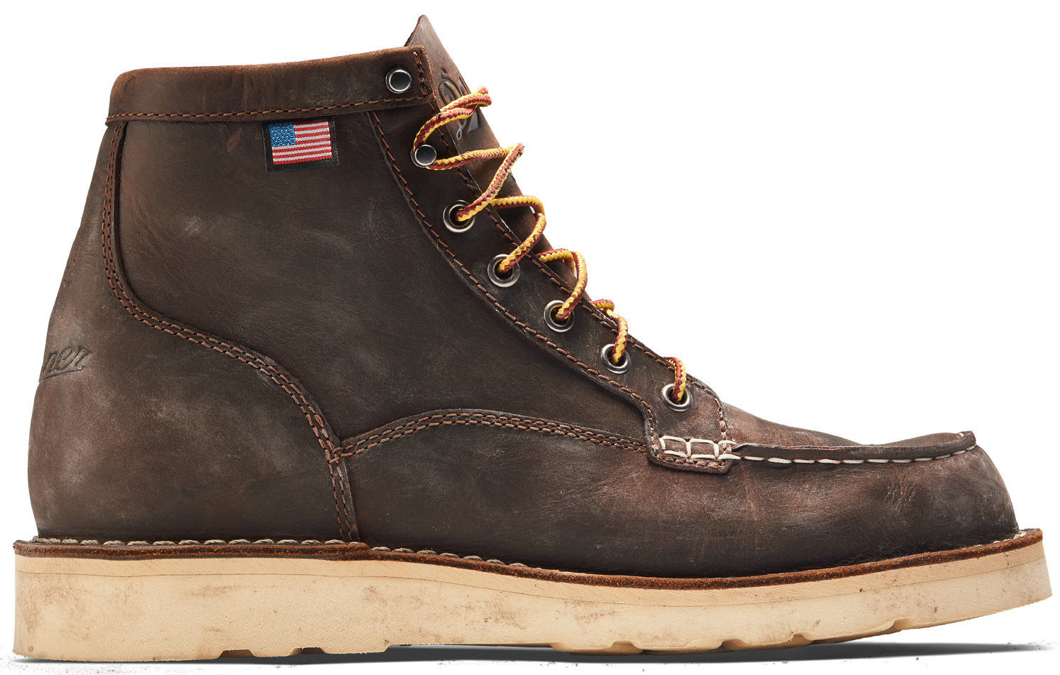 six inch dark brown leather work boot with a mock toe, yellow and dark red laces, and a white outsole