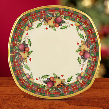 Holiday Tartan Square Accent Plate