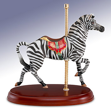 Antique Zebra Carousel Figurine