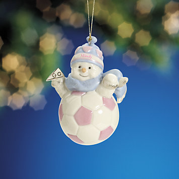 LENOX Ornaments: Personalized - My Sporty Girl Soccer Snowman Ornament