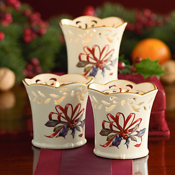 LENOX peppermint striped ornament set  - Winter Greetings 3-piece Votive Holder Set