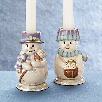 Snow Couple Candlestick Holder Set