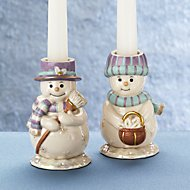 Jolly Snow Couple 2-piece Candlestick Holder Set by Lenox