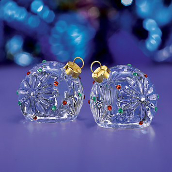 Crystal Christmas Ornament Salt & Pepper Shaker Set by Lenox
