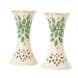 Holiday 2-piece Pierced Candlestick Holder Set