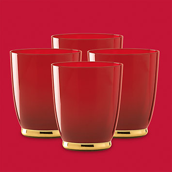 Touch of Gold Berry 4-piece Crystal Double Old Fashioned Set by Gorham®
