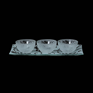 Smoked Floral 4-piece Dipping Bowl Set by Gorham®