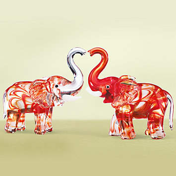 Elephant Kisses Art Glass Figurine