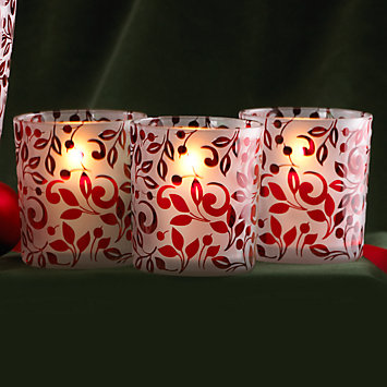 Floral Scroll Red Votive Holder Set