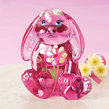 Fenton Meadow Little Pink Bunny Art Glass Figurine by Lenox