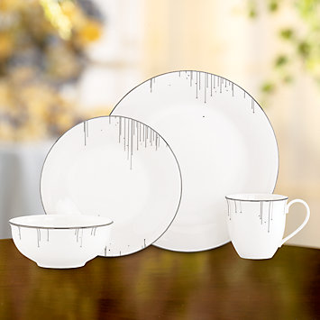 LENOX peppermint striped ornament set  - Platinum Ice 4-piece Place Setting with Mug