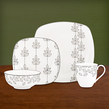 LENOX Dinnerware Sets  - Platinum Leaf Square 4-piece Place Setting