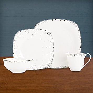 Silver Mist Square 4-piece Place Setting with Mug