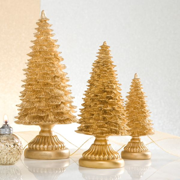 Gold Resin 3-piece Tree Figurine Set by Lenox