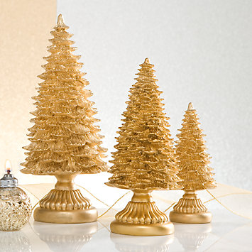 LENOX Figurines: Christmas - Gold Resin 3-piece Tree Set