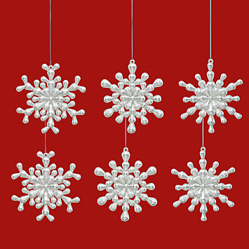 Reversible Snowflake 6-piece Ornament Set by Lenox
