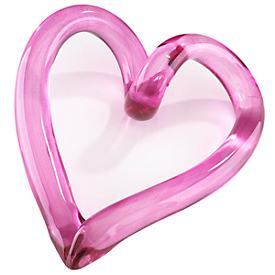 Glass Freedom Heart Paperweight