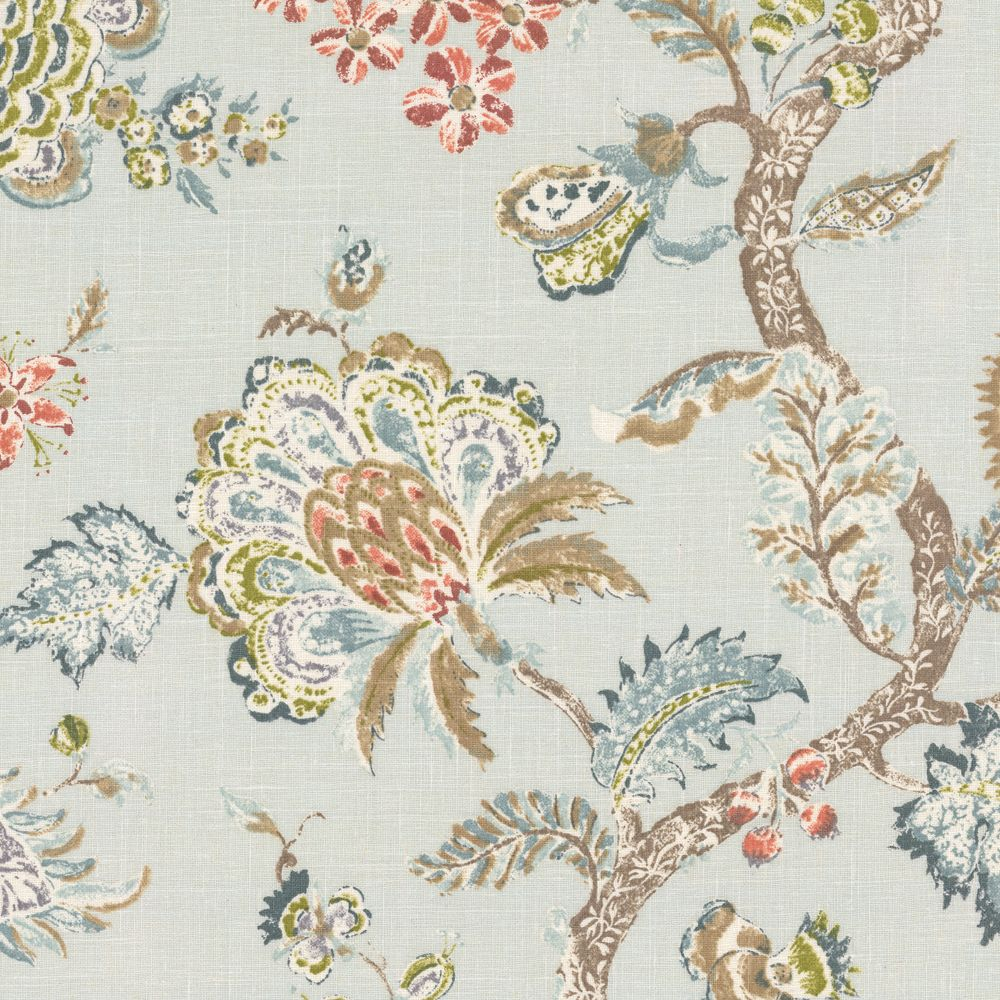 Pale aqua delicate floral linen fabric on the bright for Floral upholstery fabric