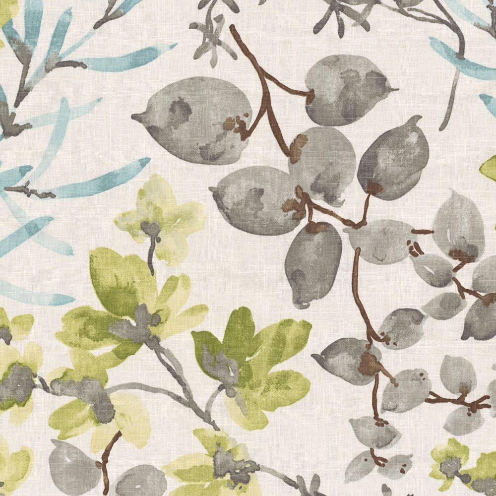 Aqua Gray Watercolor Floral Fabric Awash in the Park