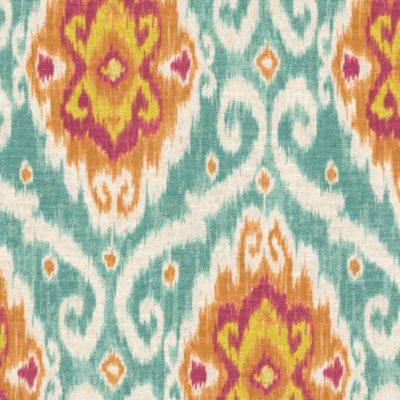 coral ikat curtains