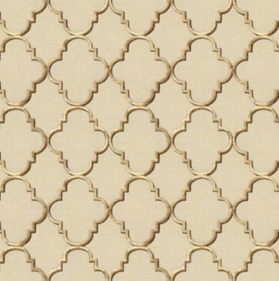 Gold Amp Tan Embroidered Quatrefoil Fabric Fancy Fretwork
