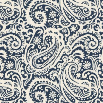 Navy Paisley Fabric Navy Paisley Scroll Linen