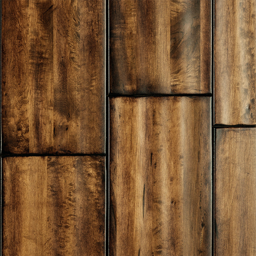 "Distressed Maple Hardwood Flooring: 3/4"" X 7"" Marble Palace Maple Handscraped"