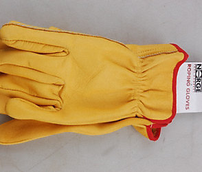 Thick Leather Roping Gloves Large