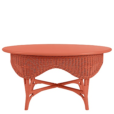 Celia is timeless. Apply one of our 40 colors to create a delightful accent or centerpiece. Solid maple top on a rattan base are a lovely combination.