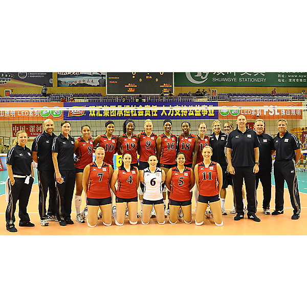 US Womens Volleyball Team phot in China before playing Serbia