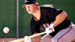 Matt Cain bunts the ball