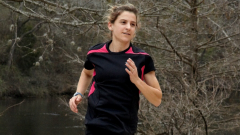 Serena Burla taking a run through the woods