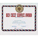 Den Chief Service Award Certificate