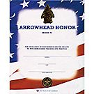 Arrowhead Honor Certificate