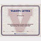 Cert Varsity  Letter