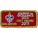 2011 Journey to Excellence 100% Boys' Life Unit Gold Award