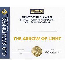 printable arrow of light certificate template cub scout