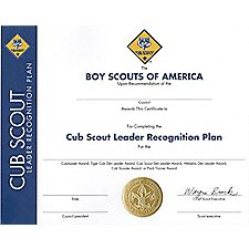 Cub scout leader recognition plan wall certificate wall enlarge image yadclub Choice Image