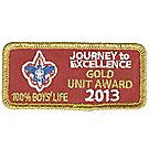 Journey to Excellence 2013 100% Boys' Life Unit Gold Award