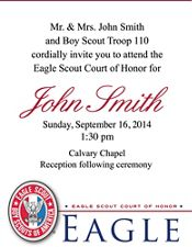 Eagle Scout Court of Honor Invitation Cards50pack