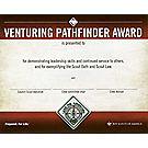 Venturing® Pathfinder Award Wall Certificate