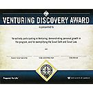 Venturing® Discovery Award Wall Certificate