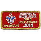 2014 Journey to Excellence 100% Boys' Life Unit Gold Award