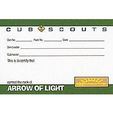 arrow of light pocket certificate � single